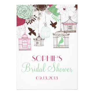 Red Birdcages & Flowers Bridal Shower Invitations