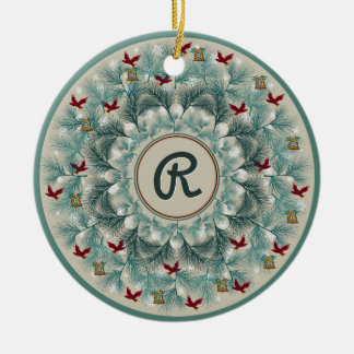 Red Birds and Wispy Pine Personalized Ceramic Ornament