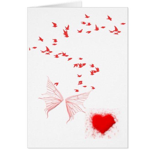 Red Birds Butterfly & Heart Card