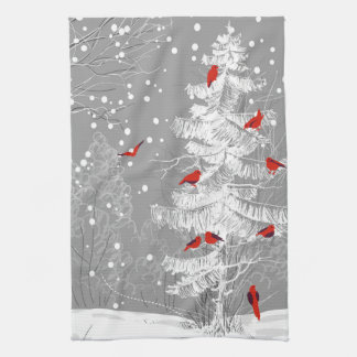 Red Birds, White Christmas Tea Towel