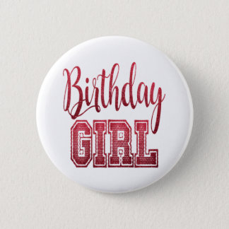 Red Birthday Girl Text 6 Cm Round Badge