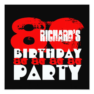 RED BLACK 80th Birthday Party 80 Years Old V27 13 Cm X 13 Cm Square Invitation Card