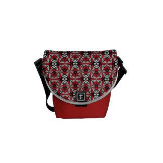 Red Black - Abstract Designed Messenger Bag