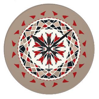 Red, black and beige mandala styled large clock