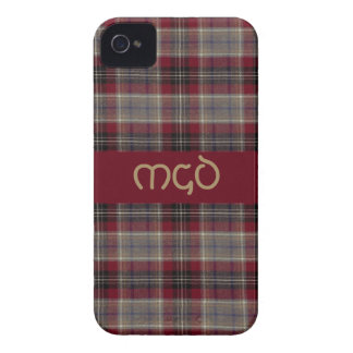Red black and brown Tartan Plaid with monogram iPhone 4 Case-Mate Case