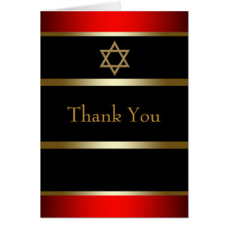 Red Black and Gold Bar Mitzvah Thank You Cards