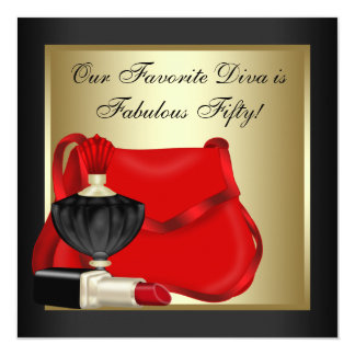 Red Black and Gold Birthday Party Card