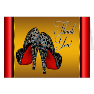 Red Black and Gold High Heels Thank You Card