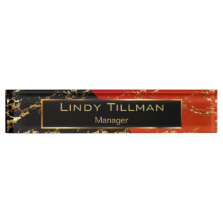 Red, Black and Gold Marble Design Nameplate