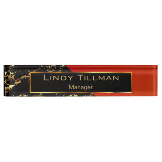 Red, Black and Gold Marble Name Plate