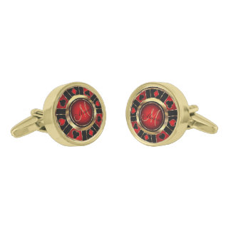 Red , Black and Gold Poker Chip - Monogram Gold Finish Cufflinks