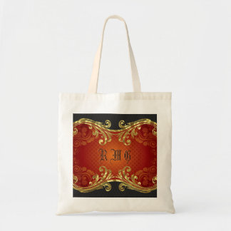 Red Black And Gold Tones Vintage Swirls 2-Monogram Tote Bag