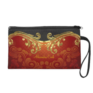 Red Black And Gold Tones Vintage Swirls 2-Monogram Wristlet