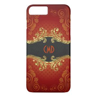 Red Black And Gold Tones Vintage Swirls Monogram 2 iPhone 7 Plus Case