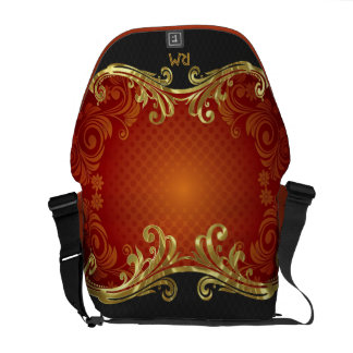 Red Black And Gold Tones Vintage Swirls-Monogram Courier Bag