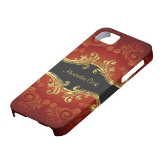 Red Black And Gold Tones Vintage Swirls-Monogram iPhone 5 Covers