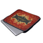 Red Black And Gold Tones Vintage Swirls-Monogram Laptop Sleeve