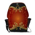 Red Black And Gold Tones Vintage Swirls-Monogram Messenger Bag
