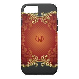 Red Black And Gold Tones Vintage Swirls -Template iPhone 7 Case