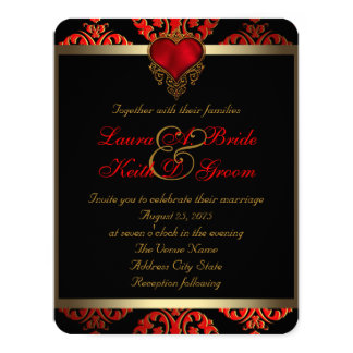 Red Black and Gold Wedding 11 Cm X 14 Cm Invitation Card