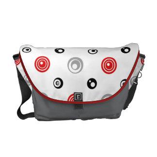 Red, Black, and Gray Circles Messenger Bag