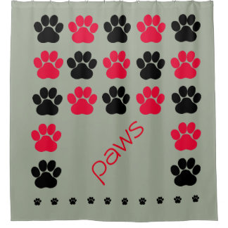 Red, Black and Gray Paw Print Shower Curtain