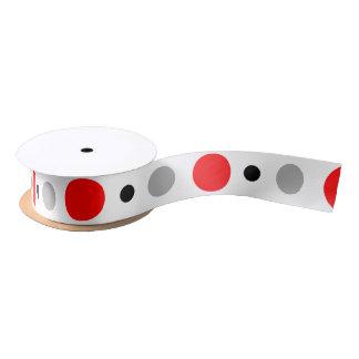 Red Black and Gray Polka Dot Satin Ribbon