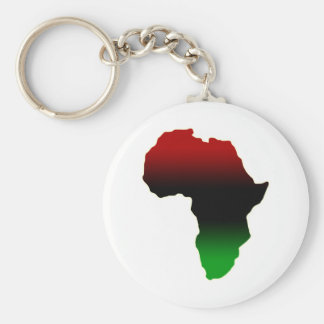 Red, Black and Green Africa Shape Basic Round Button Key Ring