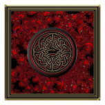 Red Black and Metallic Gold Celtic Knot on Fractal