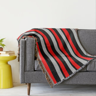 Red Black and Silver Striped Throw Blanket