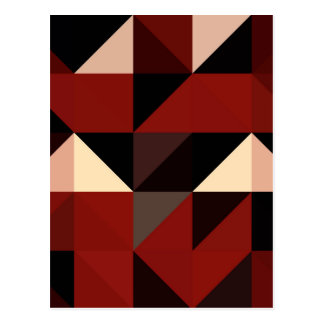 Red Black and Tan Geometrical Pattern Design Postcard