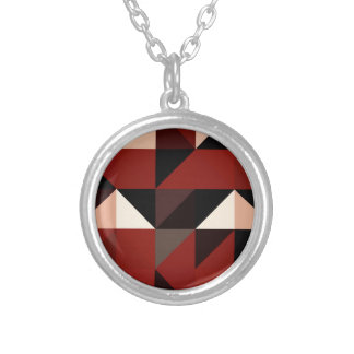 Red Black and Tan Geometrical Pattern Design Silver Plated Necklace