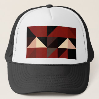 Red Black and Tan Geometrical Pattern Design Trucker Hat