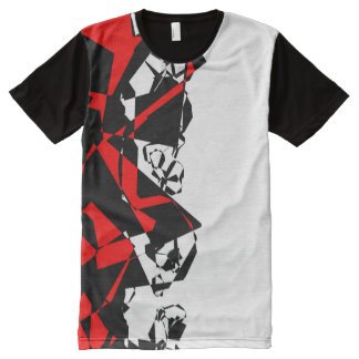 Red Black and White Abstract All-Over Print T-Shirt