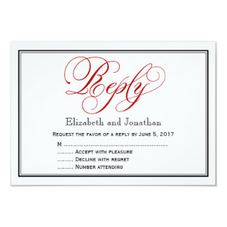 Red Black and White Calligraphy Wedding Reply Card 9 Cm X 13 Cm Invitation Card