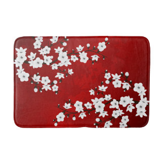 Red Black And White Cherry Blossom Bath Mats