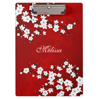 Red Black And White Cherry Blossom Monogram Clipboard
