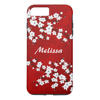 Red Black And White Cherry Blossom Monogram iPhone 8 Plus/7 Plus Case