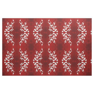 Red Black And White Cherry Blossom Pattern Fabric
