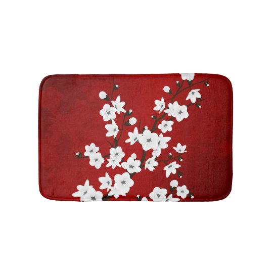 Red Black And White Cherry Blossoms Bath Mats