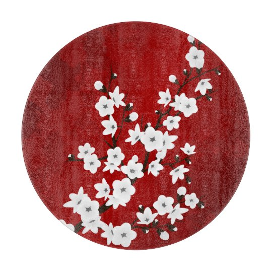 Red Black And White Cherry Blossoms Cutting Boards