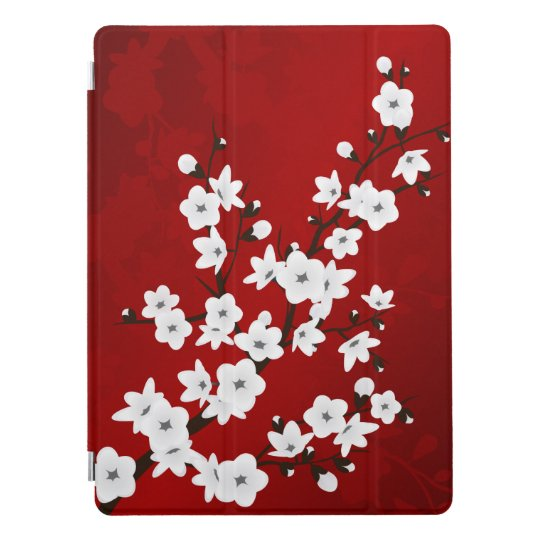 Red Black And White Cherry Blossoms iPad Pro Cover