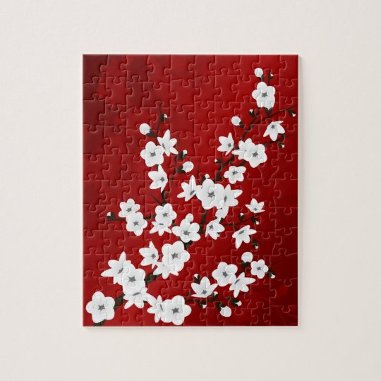 Red Black And White Cherry Blossoms Jigsaw Puzzle