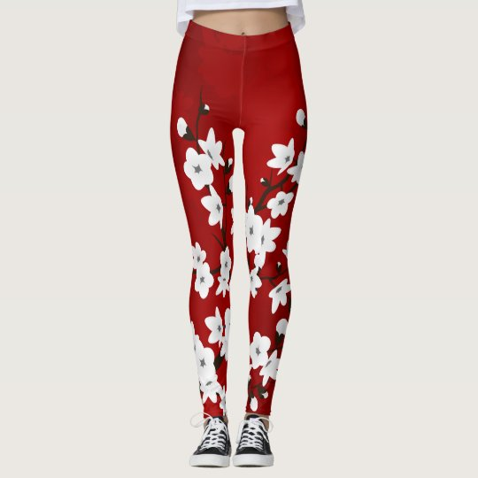 Red Black And White Cherry Blossoms Leggings