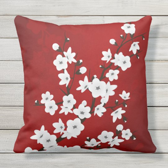 Red Black And White Cherry Blossoms Outdoor Cushion