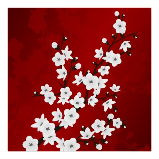 Red Black And White Cherry Blossoms Poster
