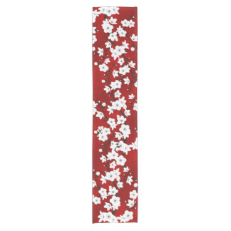 Red Black And White Cherry Blossoms Short Table Runner