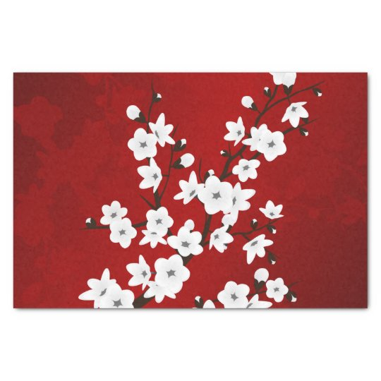 Red Black And White Cherry Blossoms Tissue Paper