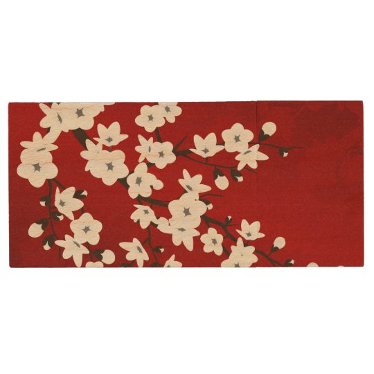Red Black And White Cherry Blossoms Wood USB 2.0 Flash Drive