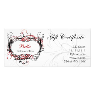 red,black and white Chic Gift Certificates Rack Card Design